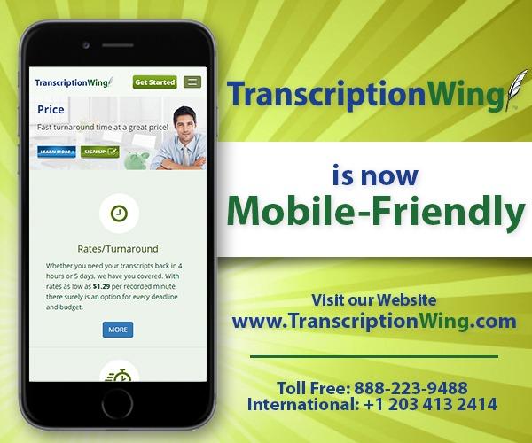 Mobile phone displaying Transcriptionwing website