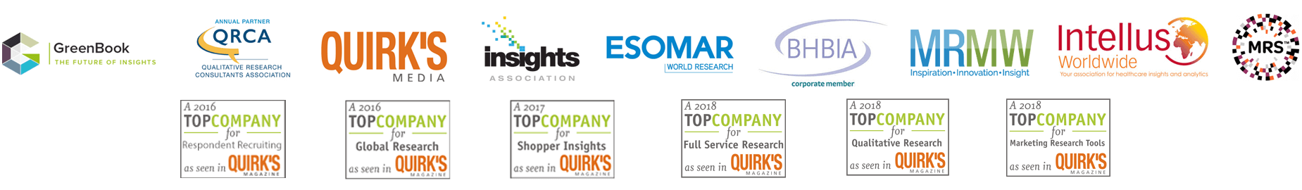 QRCA (Qualitative Research Consultants Association) | MRA | MRMW (Inspirational • Innovation • Insights) | MRS | Quirk's Media | Esomar World Research | BHBIA Corporate Member | GreenBook Directory
