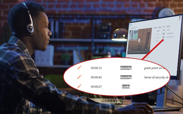 Reseacher oganizing media files on the audio and video management software