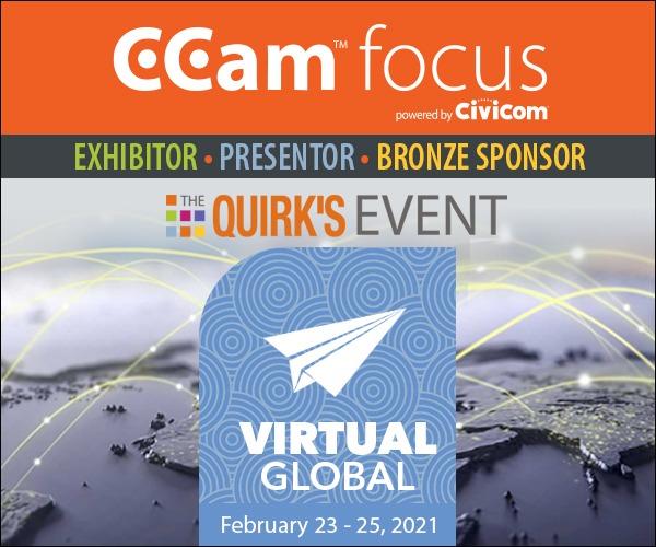Civicom® CCam™ focus Quirk's Virtual Event Bronze Sponsor